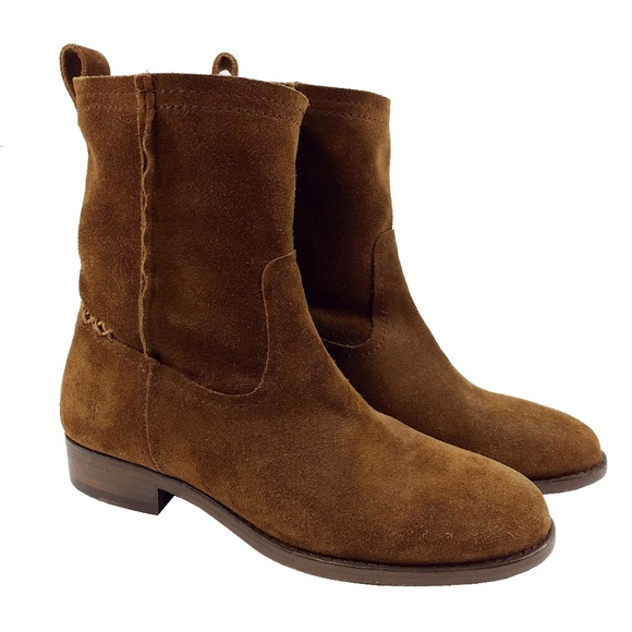 New Frye Womens Cara Short Suede Boots